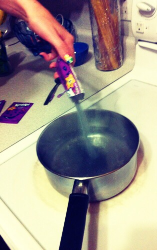 Boil water in a pot. After the water is boiling add a pack of kool aid and mix until it's fully dissolved.