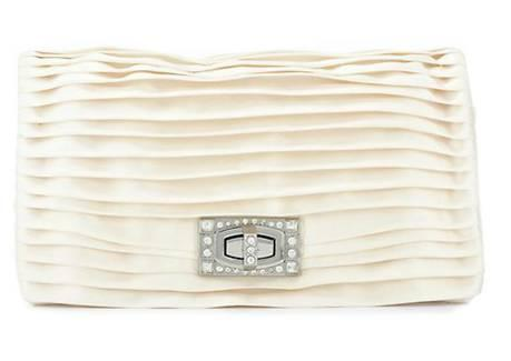 This Pleated Pave Turnlock Clutch from Ann Taylor gives neat tailored lines and a little Art Deco flair for a vintage bridal look.