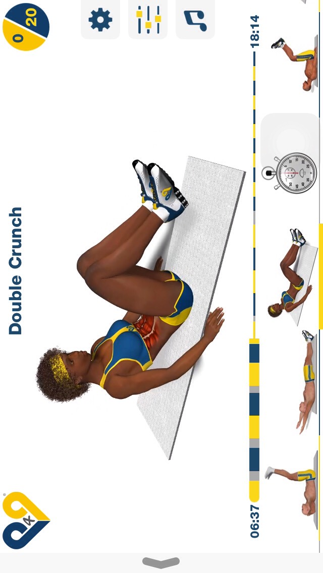 double crunch, sit on your booty w/ the rest of your body off the ground and lean back, then pull your chest and knees together; 20 reps