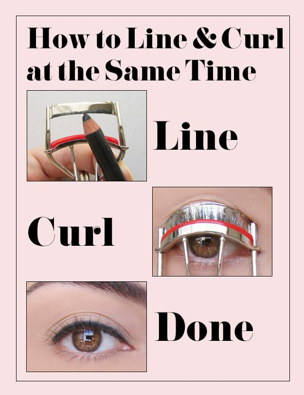 17. Put the liner on your eyelash curler to save time and help you get a straight line.  This technique uses a soft eye pencil, and will at least get you started—you may need to trace over the resulting line on your lid with the pencil.