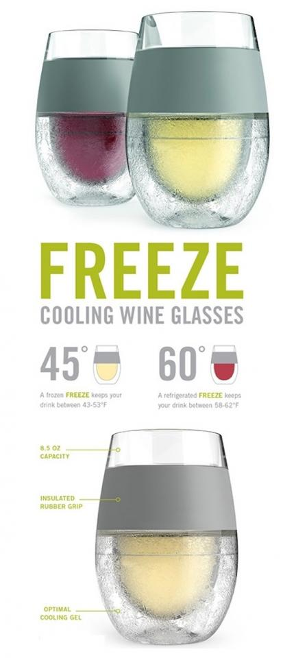 1. Freeze Wine Glasses Store these insulated wine glasses in the freezer, and the frozen gel inside will keep your wine cold for much longer. You can also put them in the refrigerator to keep red wine at the optimal temperature.