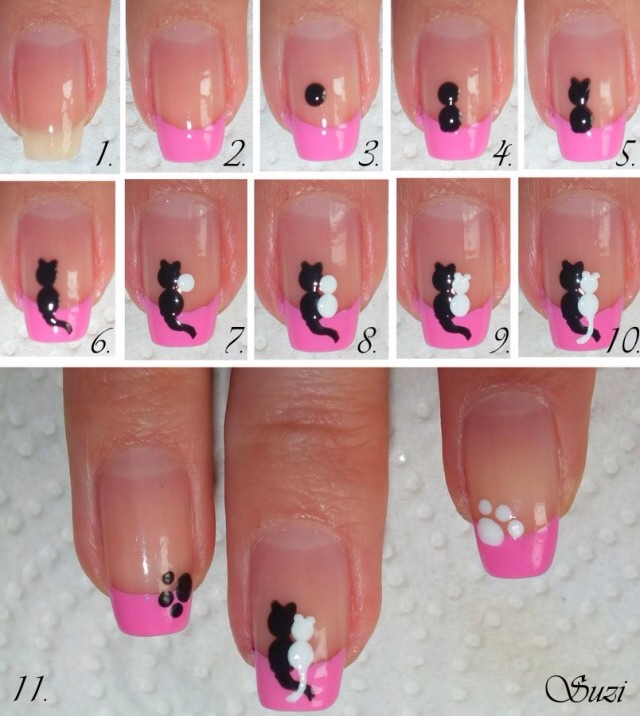 6. Cats in Love Cats in love on the nails give you a sweet vibe and it's lovely as well as stylish.