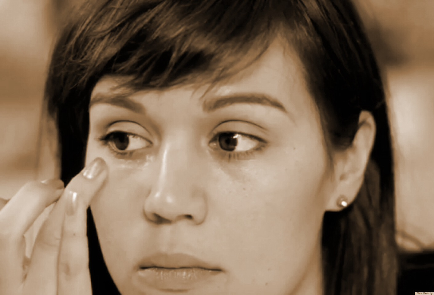 When putting under eye cream on, or anything under your eyes, go from the corner of your eye, closest to your ear, then, still using your middle or ring finger, move the eye cream towards the nose.  This helps prevent wrinkles in the corner of your eyes (laugh lines)