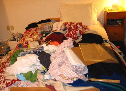 Move everything onto your bed,this way you'll have a clean floor and you can see what you need to put away!🌸🙌