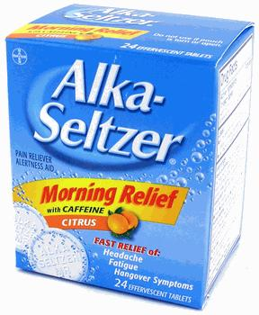Try Alka-Seltzer Morning Relief. These tablets contain caffeine and aspirin, which offer energy and headache relief. But too much aspirin can cause stomach bleeding in some drinkers.