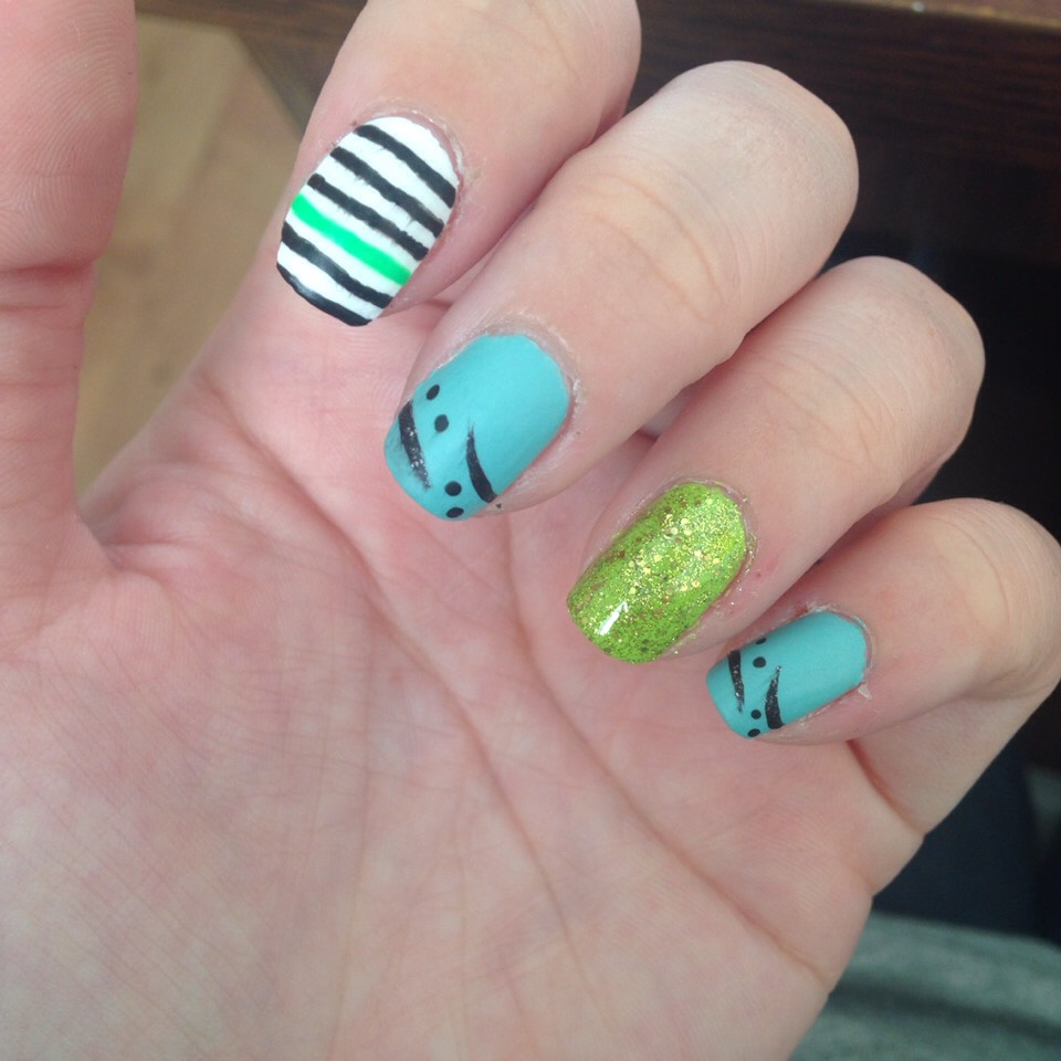 Mix and match ; green glitter nail , black & green stripes , Aqua with black design