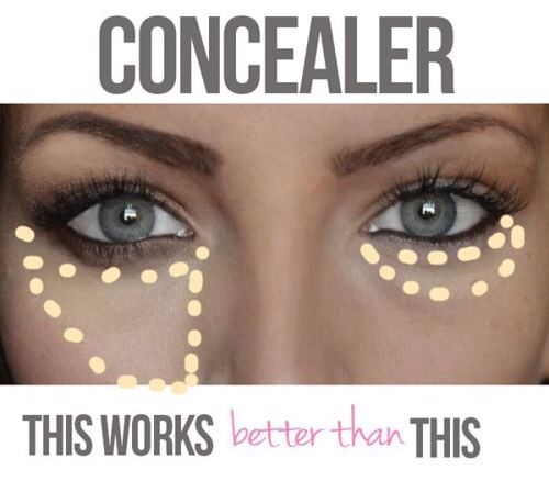 "Use concealer before foundation. ""Before applying your base, use concealer to cover any areas of discoloration (e.g. under the eyes, around the nose and mouth, and any blemishes). Then apply foundation only where you really need it and blend it out to nothing for the most natural look."""