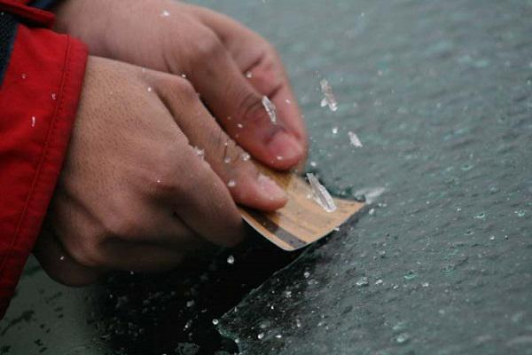 15.) Windows frozen and you don't own an ice scraper?: First, buy a cheap ice scraper. Second, if you can't, use a non-metal spatula or any plastic card in your wallet to chip away the ice.