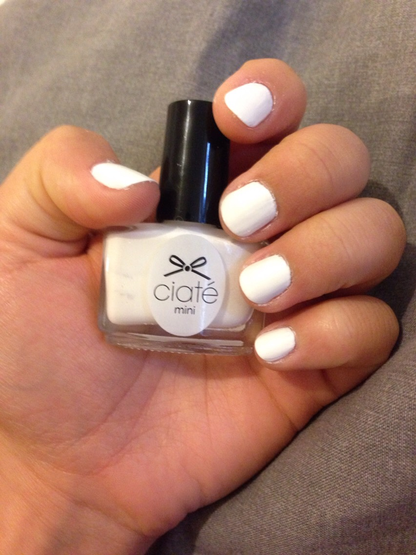 Apply one coat of your main white nail polish, allow to dry. Finish off with a top coat to make sure the colour does not chip easily or get dirty.