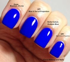 Super fun Essie's Bouncer, It's Me dupes: get this super neon blue manicure by checking out some other brands including Sinful Colors. Their polishes are only around $2! (Sorry for the low quality pic!)
