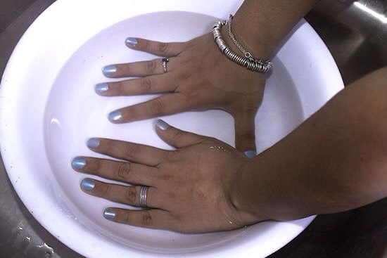To quickly dry your nails, soak them in ice cold water for 3 minutes