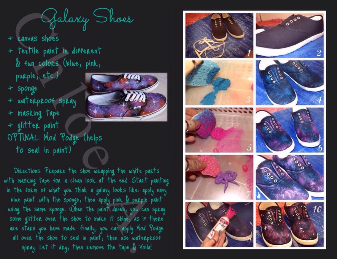 FROM |http://alldaychic.com/how-to-make-galaxy-shoes-diy/