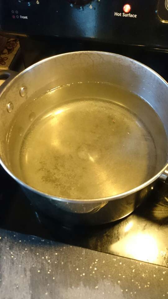 So, get a pot of water and set it on high to boil. This is for the macaroni noodles.