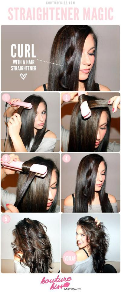 14. Yes, you can get curls from a hair straightener. Here's how: