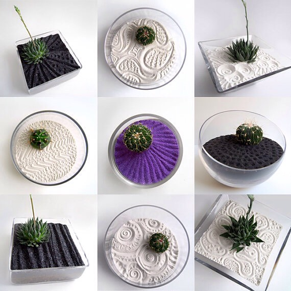 Put the sand in whatever shape, size and style bowl/plate you want it's your garden