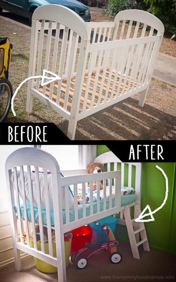 Crib Into Toddler Loft Bed  http://adrielbooker.com/how-to-make-a-toddler-loft-bed-out-of-an-old-crib/