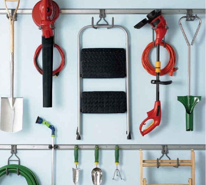 Tool hooks to organize your garage. ($10.49)  http://www.containerstore.com/s?q=Tool+hook