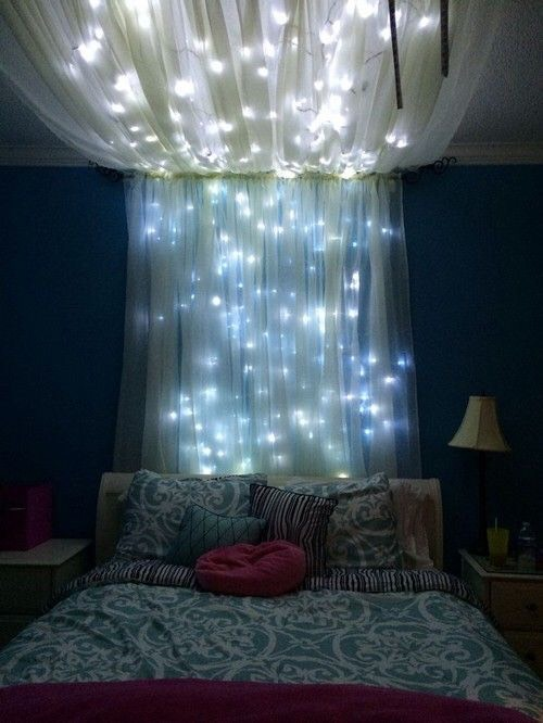 Hang a canopy from your bed and roof and decorate with lights. Lights are great for many spots in your room.