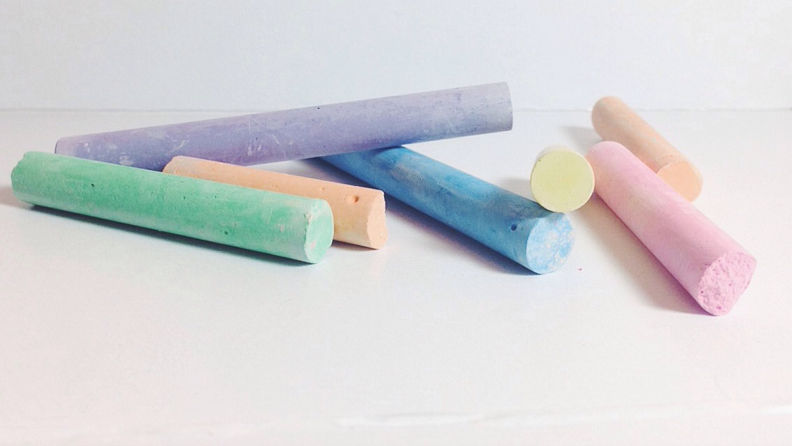 You will need colorful chalk as well, got it at Walmart in the arts/crafts section for around $3.88.