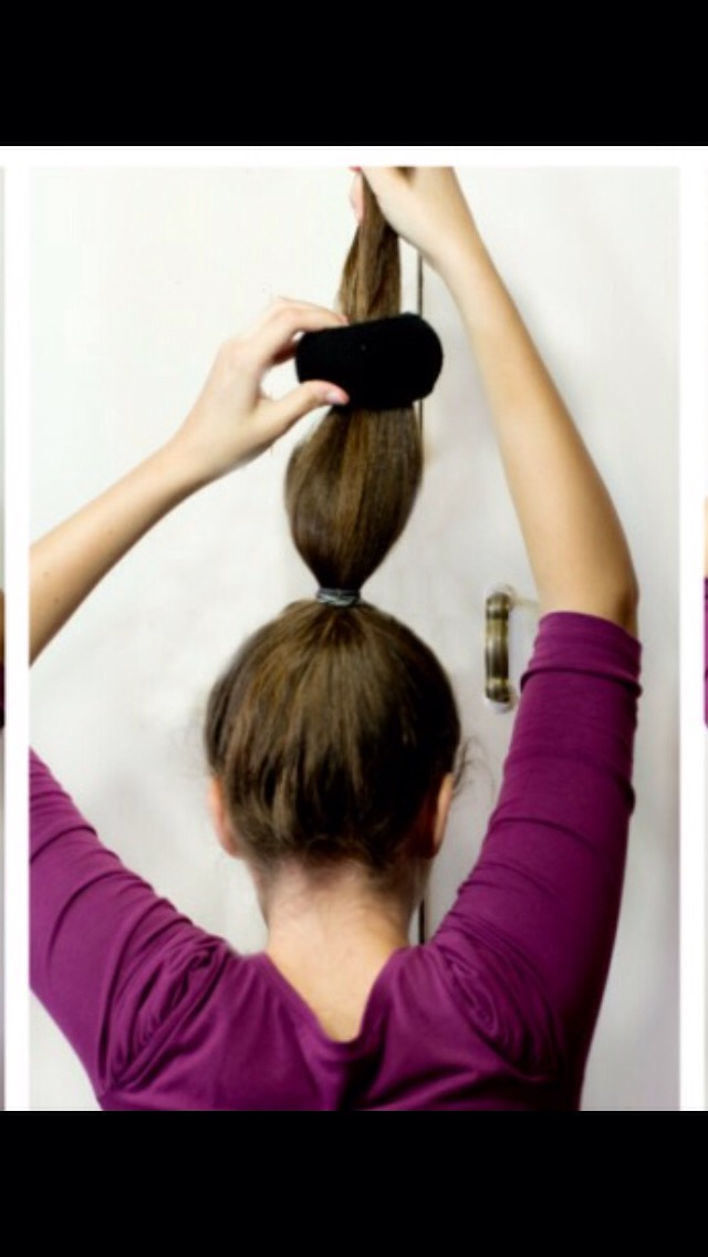 Then, Take Your Donut Or Your Sock & Put It All The Down & Pull Ot Half Way Up Your Hair.