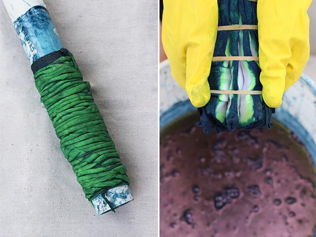 After about 5 minutes, take the fabric out of the dye. It will have a green hue but after several minutes, as it is exposed to oxygen, it will turn dark blue. Carefully peek inside one of your pieces and you'll see the areas in which the dye wasn't able to penetrate. Lookin' good!