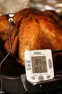 You don't use a real thermometer!   Don't use a pop up thermometer! A real meat thermometer is essential, because it tells you the exact internal temperature of your bird. So, if you take its temperature and your thermometer reads 155, you know it's almost done.