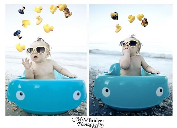 Take a baby bath to the beach so they can have some splash fun too.