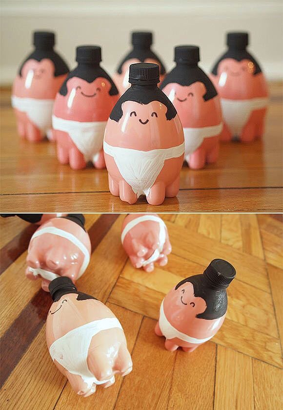 Tiny sumo bowl pins for kids