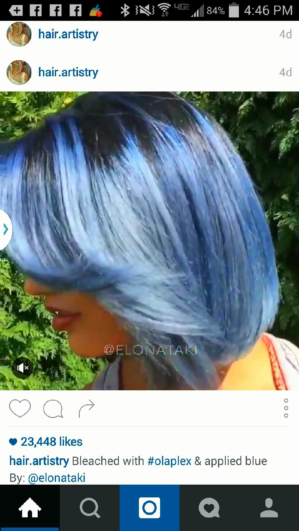 Dark roots with blue ends..