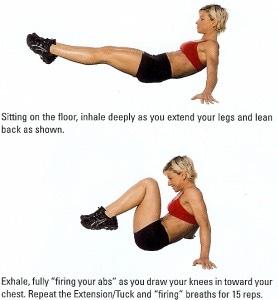 30 seated knee tucks