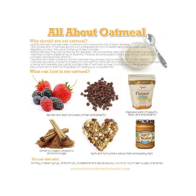 Oatmeal is so healthy for you!! these are just a few things that you can put in your oatmeal to make it a little less bland!