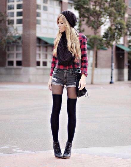 Red and Black checked skirt with a pair of shorts. Still feeling like rocking the shorts, wear them with a pair of long socks to stay warm  Maybe add a beanie or scarf, add warm and style