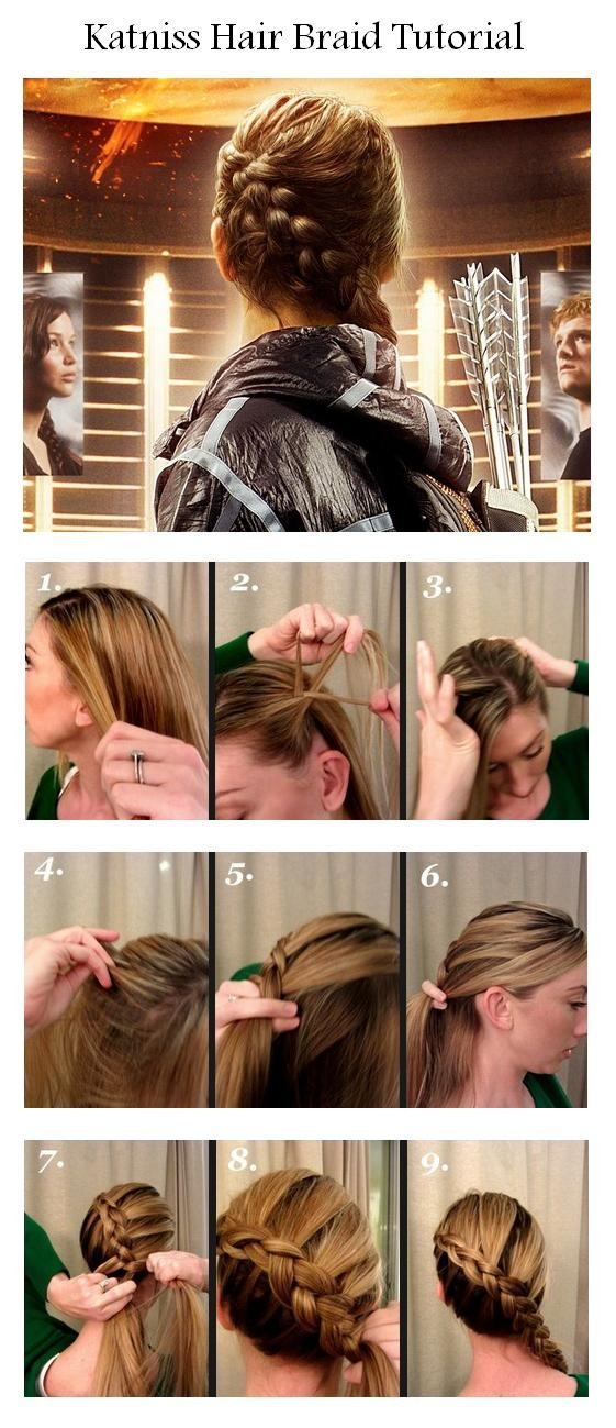 These are the steps it starts on the top/side of your head then it's a Dutch braid around the head. When you run out of hair to add to the braid just do a normal 3 strand braid.