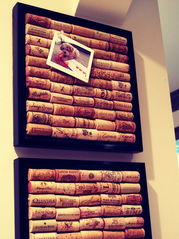 Why not make a bullitin board out of corks? Get an old picture frame,glue in corks and get pinning!