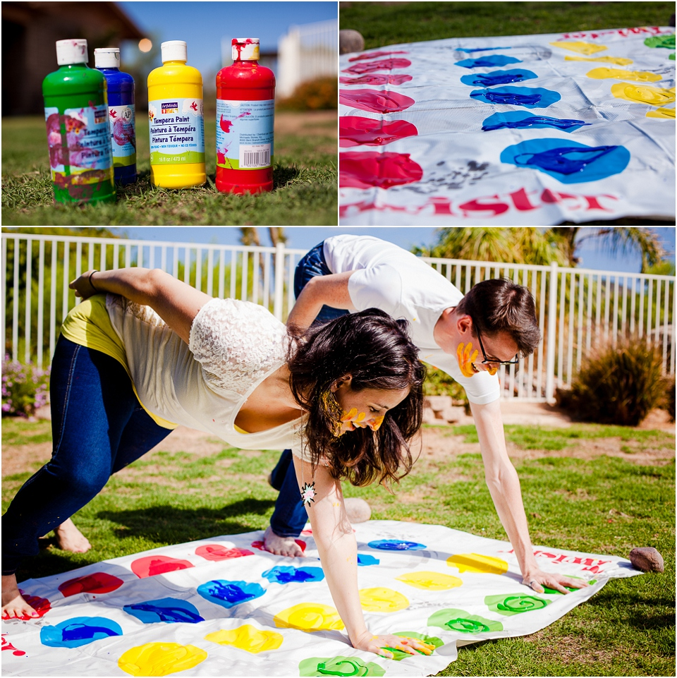 Play Paint Twister in all white clothing