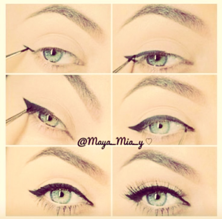 when doing winged eyeliner be sure to follow the crease along the eyelash line then, curve up, when u get to the end of the crease, and curve until halfway to the end of ur brow!❤️