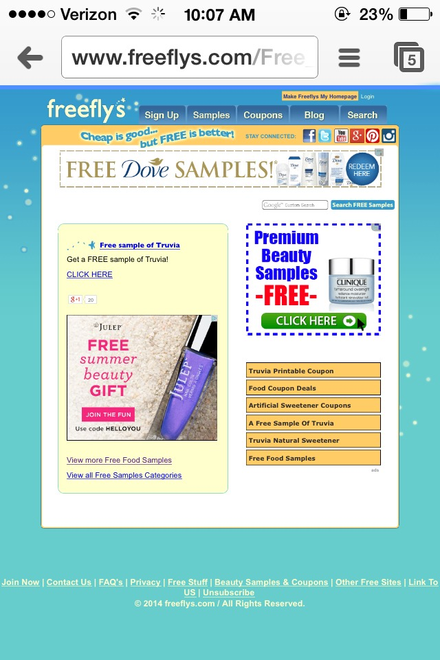 After you have picked a product you want to sample click on it and a new page explaining how to get the sample will appear. My best advice is don't click on ads only the samples and where it says click here in your blue link for your selected product.