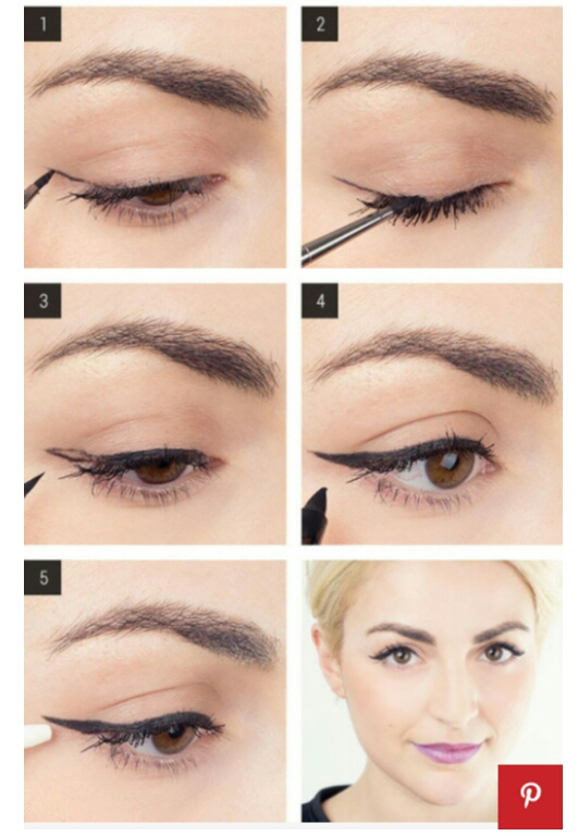 7. draw your cat-eye first, and then fill in the open space  for a perfect winged liner application every single time .
