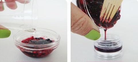Bite with berries:  http://thebeautydepartment.com/2012/05/kitchen-beautician-homemade-lip-stain/