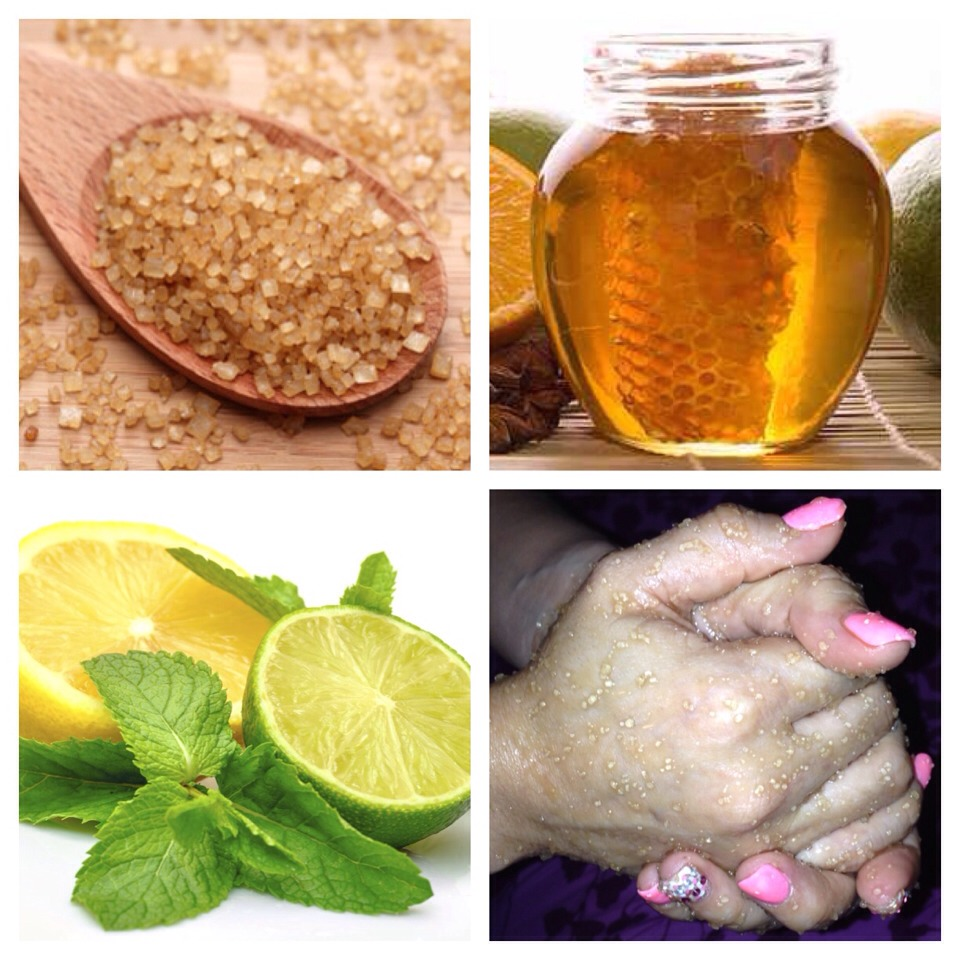 1 teaspoon of each ingredient.. Stir .. and Rub it on your hands for 5 minutes. wash and dry your hands ..  Use your favorite lotion and you will notice the softness of your hands in an instant. :) The sugar will help exfoliate your hands, the lemon for clarification and honey to soften them.