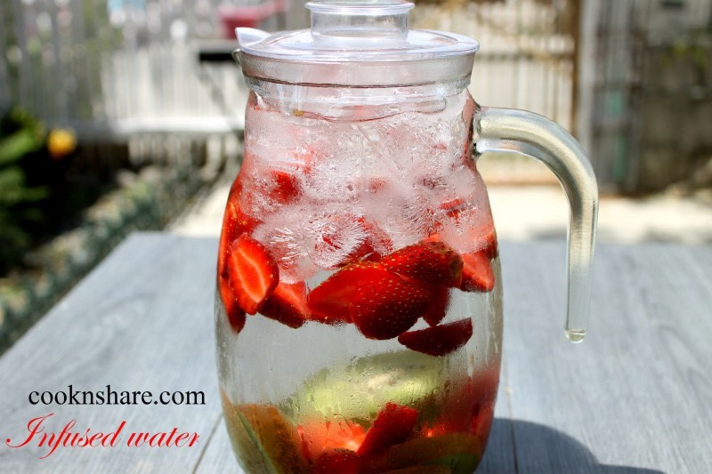 Strawberry Kiwi detox water 	•	½ gallon cold water 	•	2 kiwis 	•	6 strawberries, sliced Directions:  	•	Mix all ingredients and leave to chill in the refrigerator for 1-2 hours before serving. 	•	Discard after 24-48 hours or when fruit starts to taste bitter. 	•