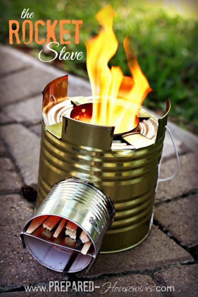 Tin can rocket stove. it's easy to make and not expensive as a regular camping stove! you can find how to make it on www.prepared-housewifes.com