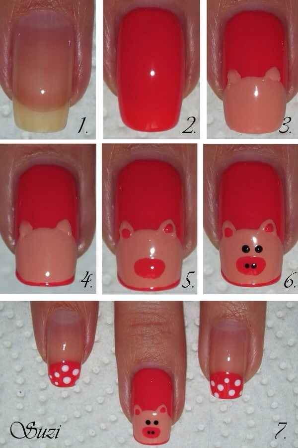 8. Piggy Design You can use red polish and pink polish to create piggy nails.