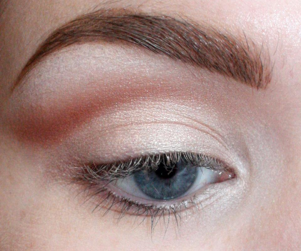 """Blend. This creates the illusion of a larger eye/lid. This works well for those with monolids as well. If you got a little messy with blending, you can clean up the bottom line of your """"crease"""" with your lid color."""