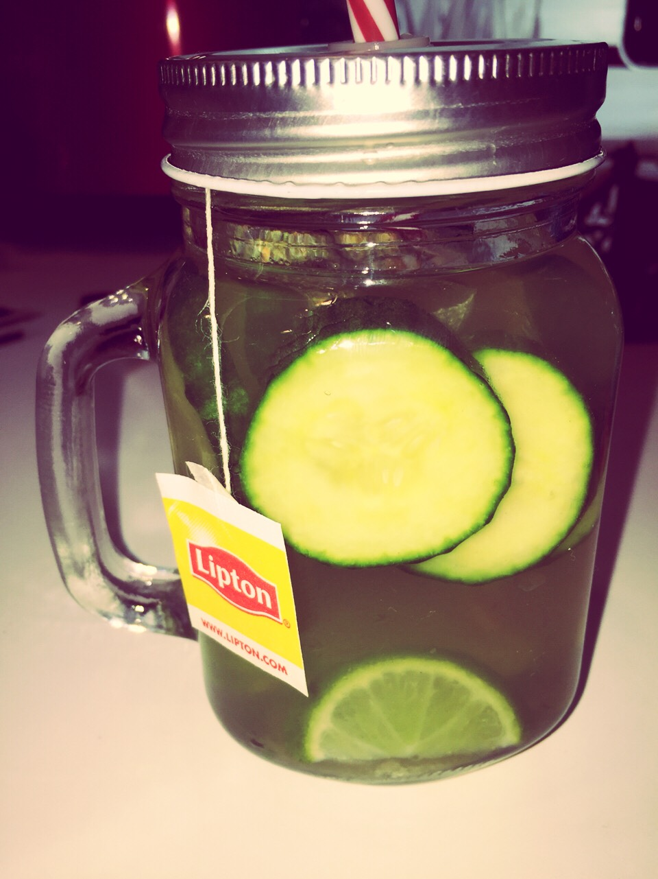 Cucumber-Lime-Lemon-Mint Detox Water:  Ingredients: 4 slices of Lime 6 slices of Cucmber 1/4 cup of lemon juice 1 peppermint tea bag (keep the string outside of the jar) Water  Put all the ingredients in a jar with a lid. Fill the jar with water.Shake the jar untilmixed well. Then refrigerate.