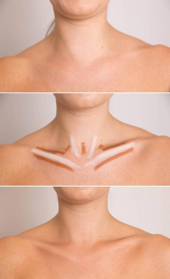 18. Intensify your collarbone for a sexy nighttime look by shrugging your shoulders up, tracing the natural contours with a concealer two shades darker than your skin tone, and then highlighting them with concealer two shades lighter.