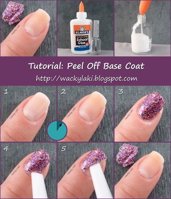 6. Peel Off Base CoatPaint your nails with Elmers glue when painting your nails with a glitter polish so when your ready to take it off the process is much easier and faster.