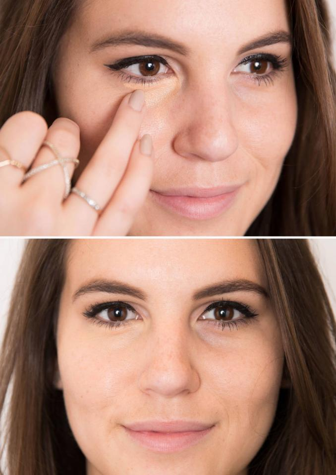 8. Dab an orange- or peach-colored concealer over dark under-eye circles with your ring finger.