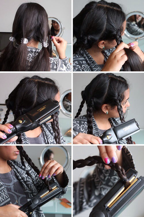 Braid hair in many different sections. Then just simply straighten over braided hair.