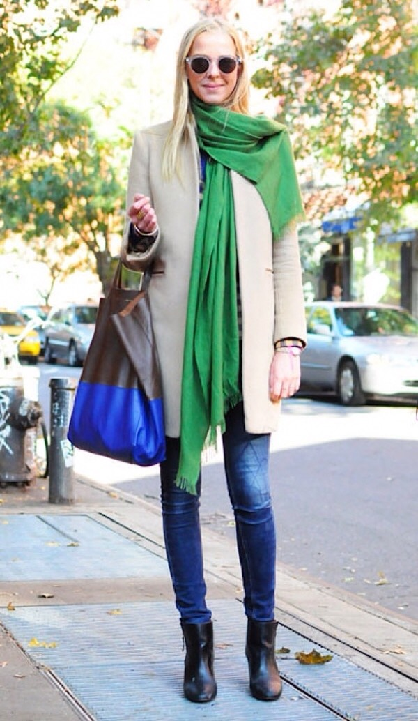 A scarf and a long coat always help your outfit look better